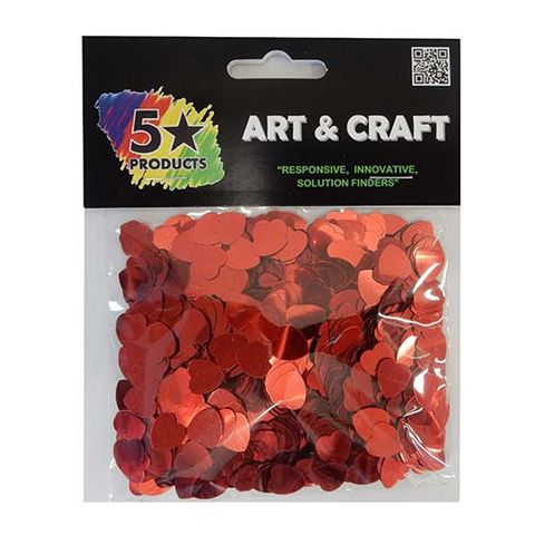 GLITTER SHAPES RED HEARTS 35GMS