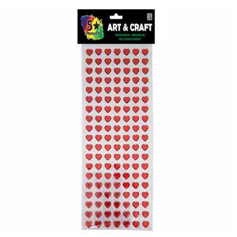 CRAFT SELF STICK RED HEART GEMS 133PC