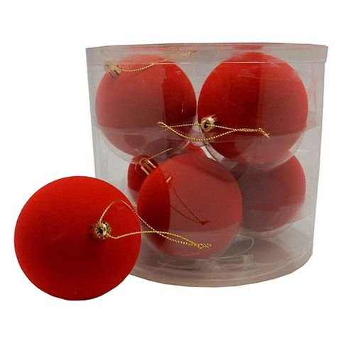 XMAS FLOCKED BAUBLES RED 6PC