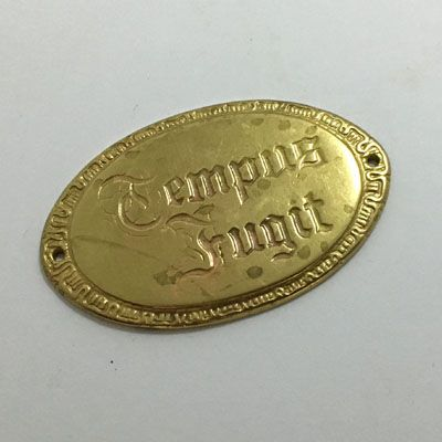 Tempus Fugit Oval Decorative Brass Plate