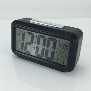 Quartz Alarm Black/Chrome - LCD (Silent)