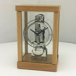 Skeleton Table Clock in Oak and Chrome