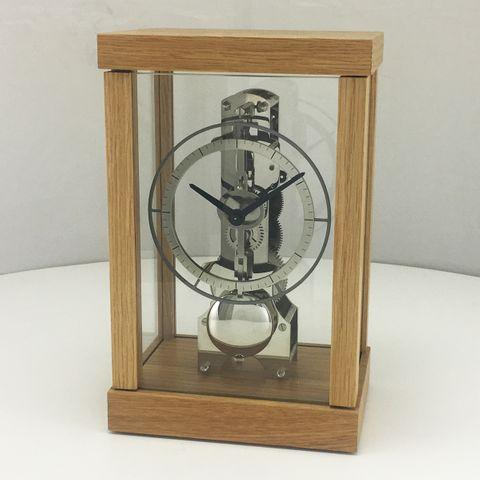 Skeleton Table Clock in Oak and Chrome