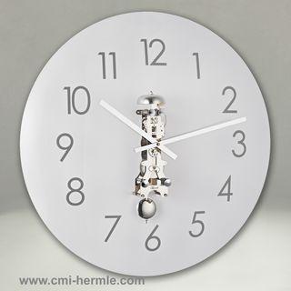 Glass Wall Clock Chrome Mech 50cm