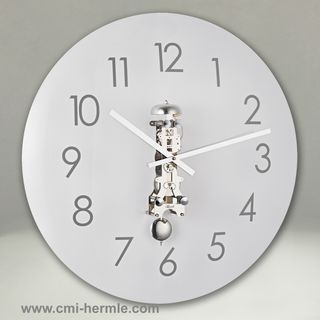 Glass Wall Clock Chrome Mech 50cm