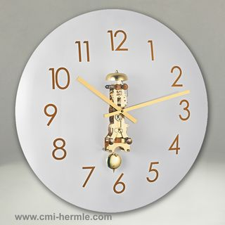 Glass Wall Clock Brass Mech 50cm