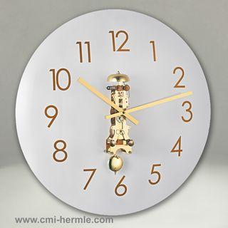 Glass Wall Clock Brass Mech 50cm