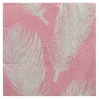 20Pk 3Ply 33cm Napkin-Pink/White Feathe#