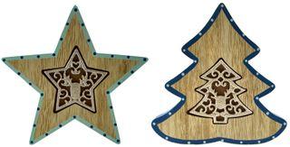14x2x14cm Blue/Natural Tree/Star-2as#