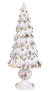 36x15cm White/Gold Poly Tree On Stand#
