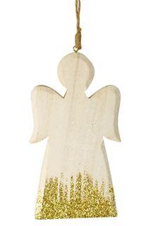 15x1x8cm MDF White Angel Hanger W/Glittr