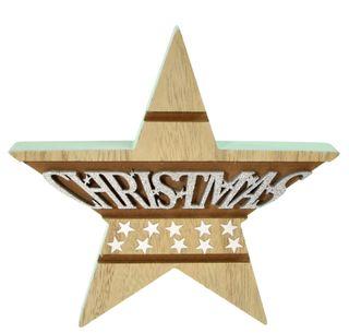 18x2x17.5cm Nat/Green Wood Star Deco#