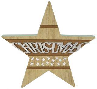 24x2x23cm Nat/Green Wood Star Deco#
