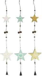 72.5x12cm 2pc Star Hanger-Grn/Wh/Nat-3a#