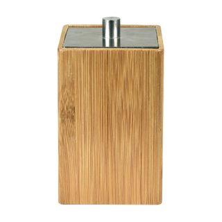6x12cm Sq Bamboo/St/Steel Storage W/Lid#