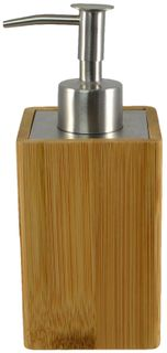 6x17cm Sq Bamboo/St/Steel Lotion Dispen#