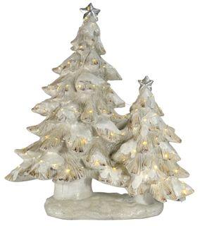 67x35x79cm Poly Led Snowy Xmas Trees-Wh#
