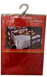 Xmas Damask Tablecloth-150x225cm-Red