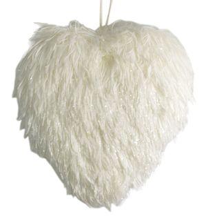 22x21x5cm Fluffy Hanging Heart-White#