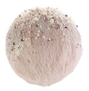 12cm Pink Fur Bauble W/Rhinestones#