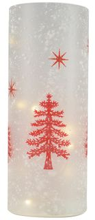 10x25cm Frost White-Red Glitter Led Dec#