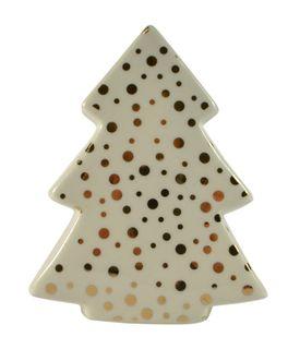 8.5x4.5x11.5cm White Cer Tree-Gold Dots#