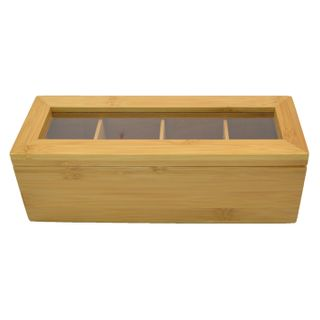 26x9x9cm Rect 4 Section Bamboo Tea Box