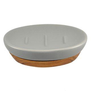 13x9x3cm Cer W/Wood Base Soap Dish Grey#