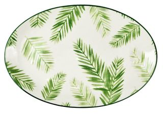 27.5x18.5x2cm Gr/Wh Tropical Oval Plate#