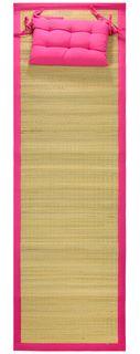 60x190cm Straw Beach Mat W/Pillow-Pink#
