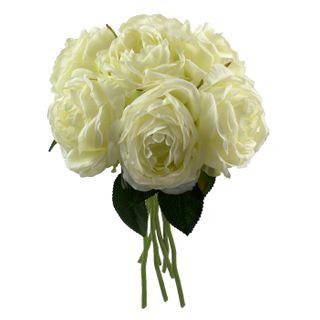 22x31cm 7 Head Peony Rose Bunch- White