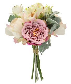 38cm Lily/Peony Bunch W/Leaves-asst Clr#