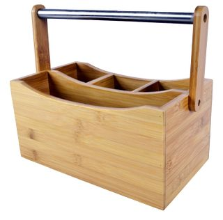 26x15x13cm 4 Sect Bamboo House Caddy #