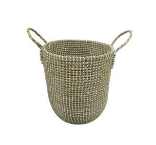 37x42cm S/Grass Bulb Basket-White Weave#