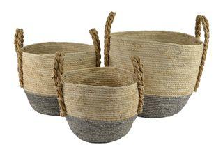 S/3 Rnd Maize Colour Dip BasketWhi/Grey#