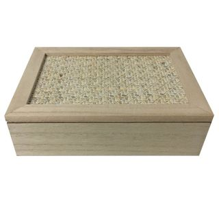 24x16x7cm Rect Nat/Wh 6 Sect Tea Box-Wo#