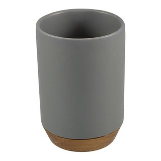 7x10cm Cer W/Wood Base T/Brush Cup Grey#