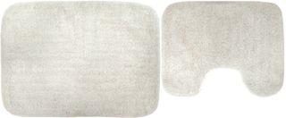 2pce Poly/Cotton Toilet Mat Set- Ivory#