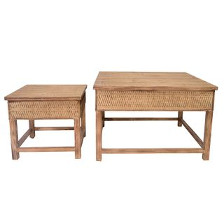 Ubud S/2 Wood Tables 73x73x47cm- Natural