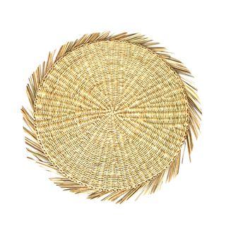Zulu Seagrass Rnd Fringe P'Mat 38cm Nat#