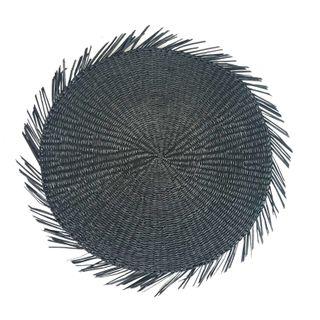 Zulu Seagrass Rnd Fringe P'Mat 38cm Blk#