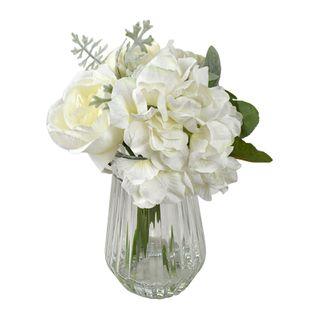 Lizzy Bouquet 23cm Glass Vase 9x17cm-Wht