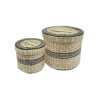 Malu S/2 Seagrass Boxes 20x16cm Nat/Blk#