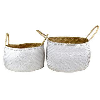 Nusa S/2 Seagrass Basket 55x28cm Wh/Nat#