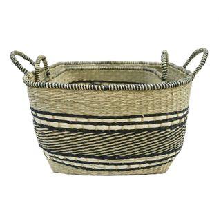 Rapu S/2 Seagrass Baskets43x29cm Nat/Bk#
