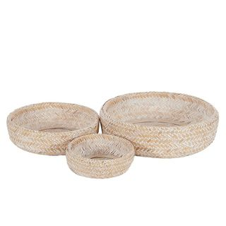 Noosa S/3 Bamboo Bowls42x11cm White#