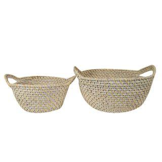 Bay S/2 Rattan Basket 33x14cm White#
