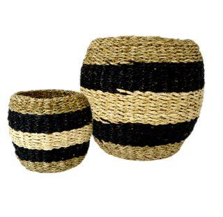 Mosi S/2 Seagrass Basket 24x24cmnat/Blk#
