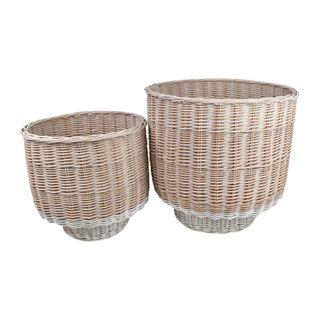 Pavla S/2 Willow Baskets 40x39cmWht Wsh#