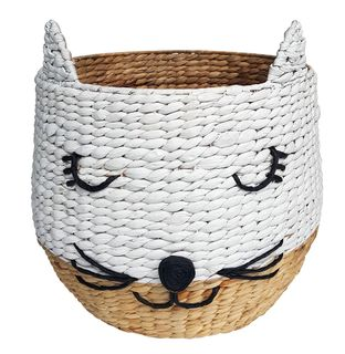 Meow Woven Basket 43x43cm-Natural/White